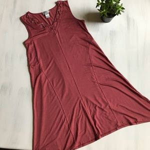 oSo Casuals stretchy comfy red sleeveless dress